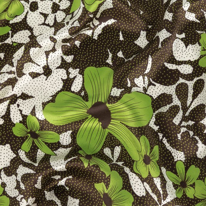 Lime, Puce and White Alyssum Flowers and Polka Dots Silk Charmeuse
