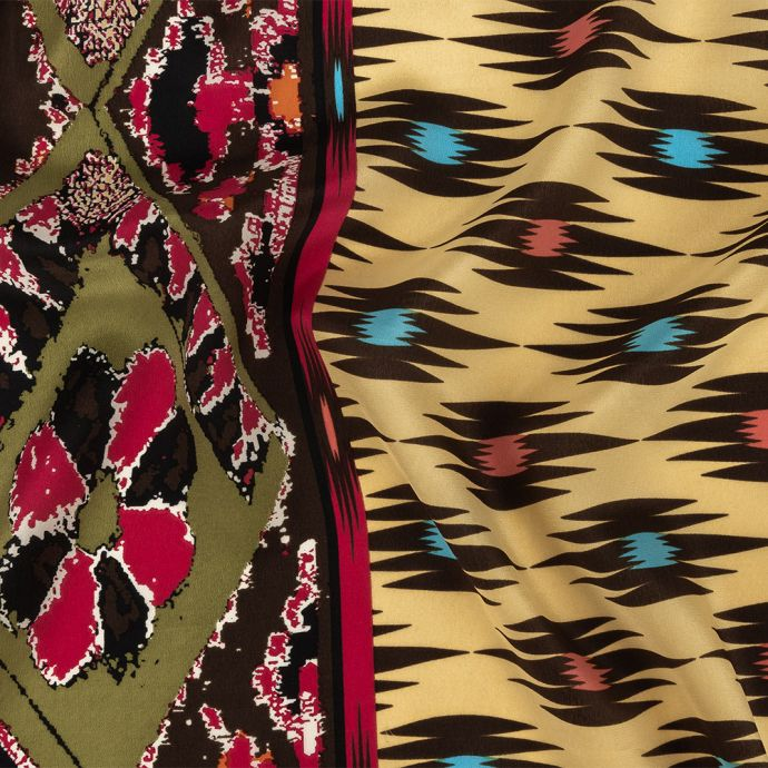 Yellow, Pink and Green Geometric Silk Crepe de Chine with Floral Diamond Borders