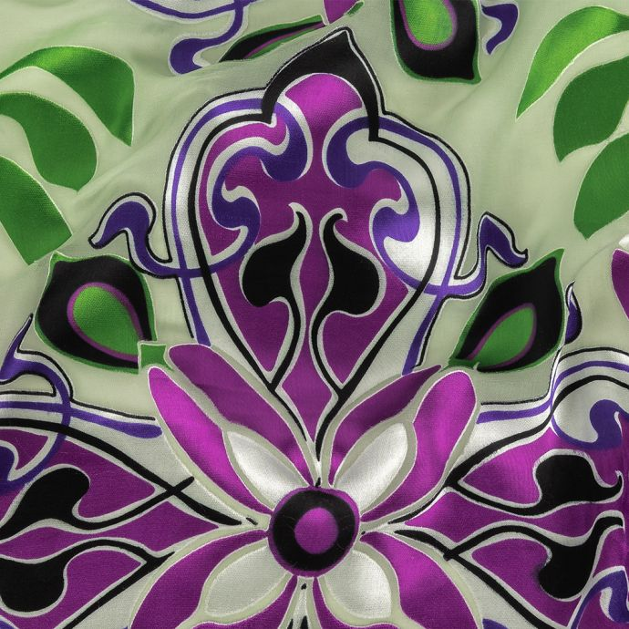 Mint, Purple and Blue Graphite Floral Silk and Rayon Burnout
