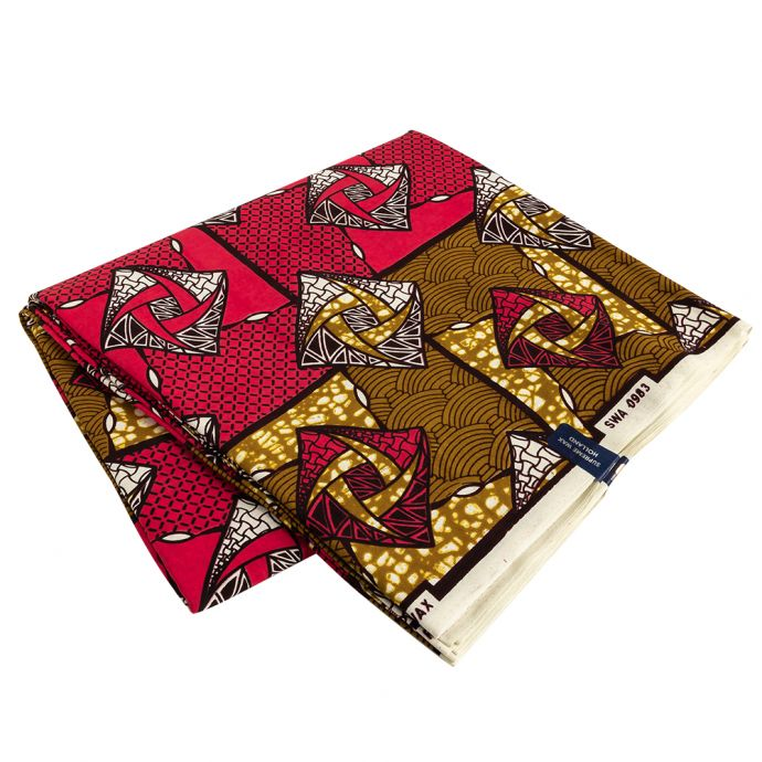 Red, Gold and Black Geometric Cotton Supreme Wax African Print