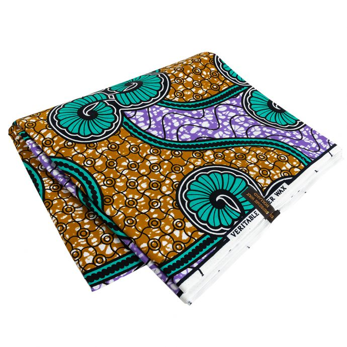 Teal, Gold and Purple Spirals and Abstract Cotton Supreme Super Wax African Print