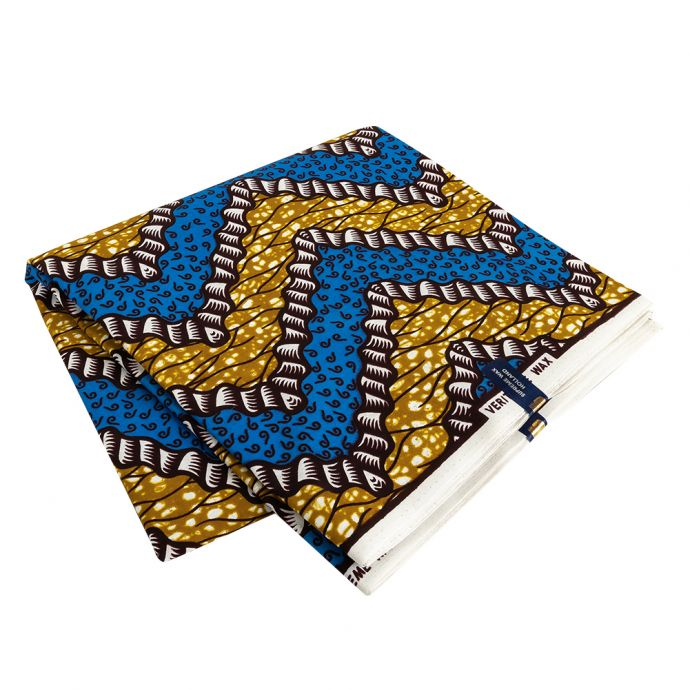 Blue, Dark Yellow and Brown Wavy Zig Zags Cotton Supreme Wax African Print