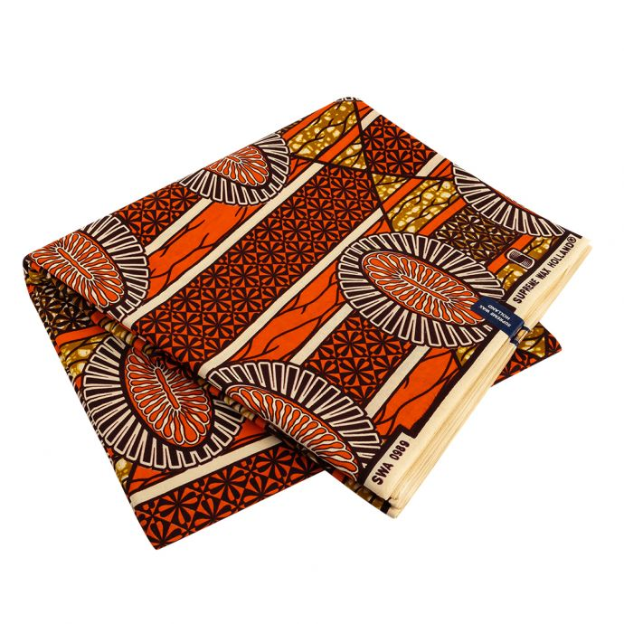 Orange and Brown Striped Floral Cotton Supreme Wax African Print