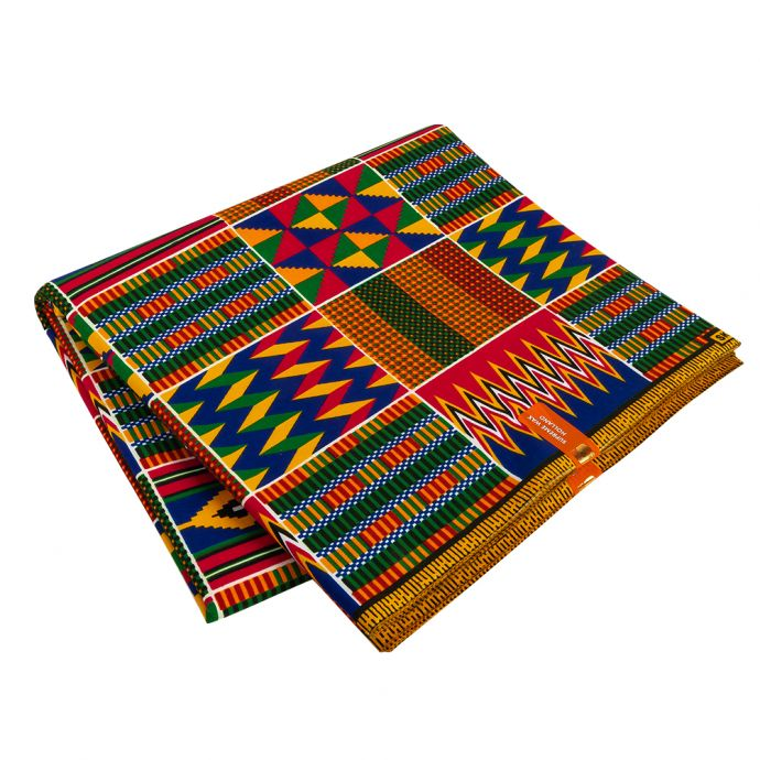 Red, Orange and Green Geometric Patchwork Cotton Kente Cloth African Print