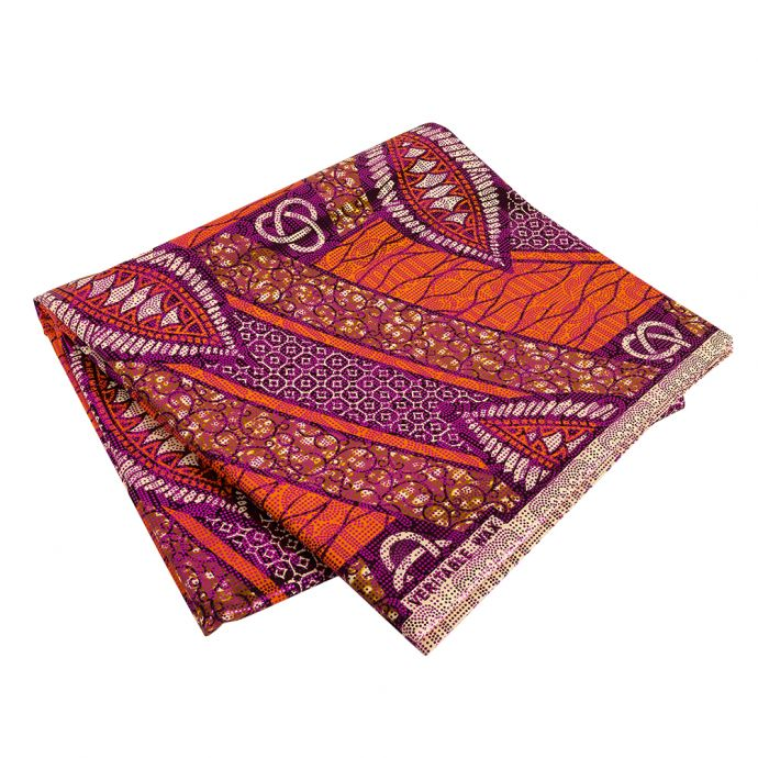Brown and Orange Abstract Patchwork Cotton Osikani African Print with Fuchsia Metallic Foil
