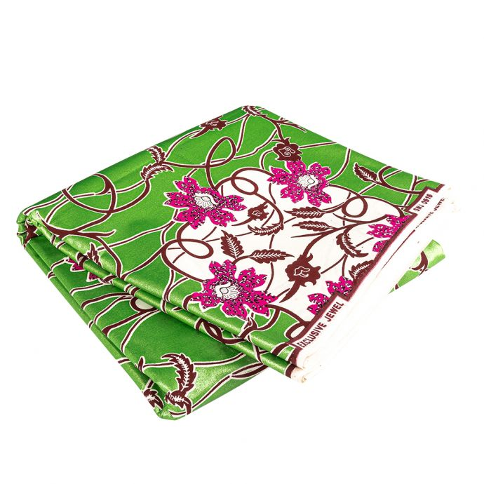 Magenta, Wine and Tofu Flowers and Vines Cotton Supreme Wax Jewel African Print with Green Metallic Shimmer