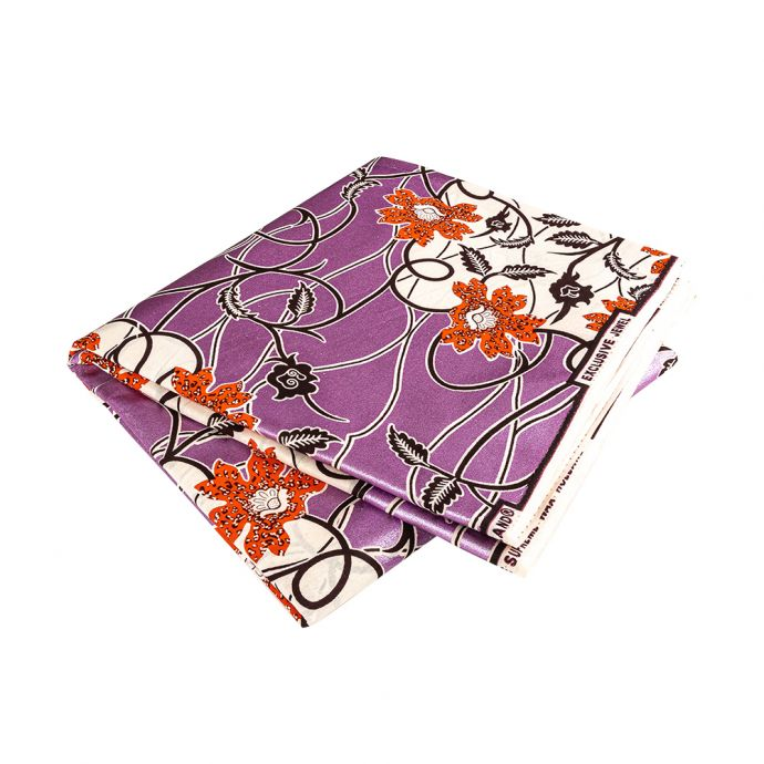 Orange, Dark Brown and White Flowers and Vines Cotton Supreme Wax Jewel African Print with Purple Metallic Shimmer