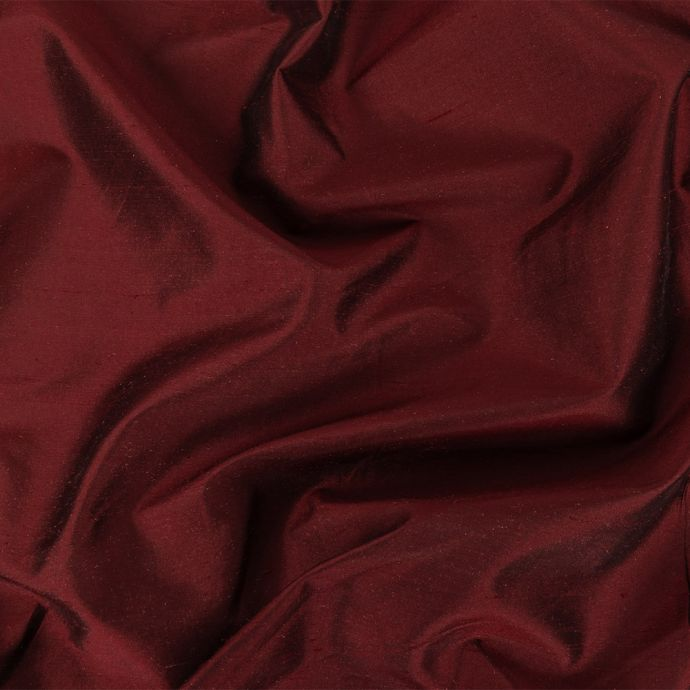 Wine Red Silk Shantung with White Polyester Knit Backing