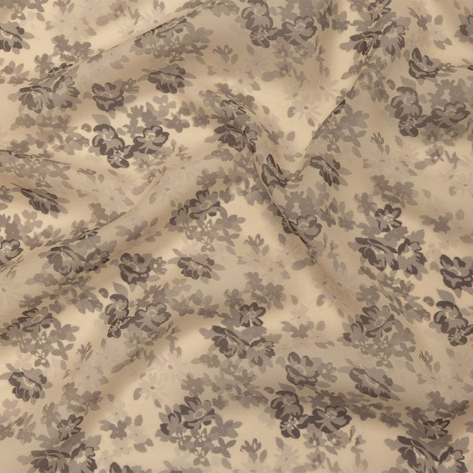 Famous NYC Designer Gray Sand and Taupe Floral Square Silk Chiffon Panel