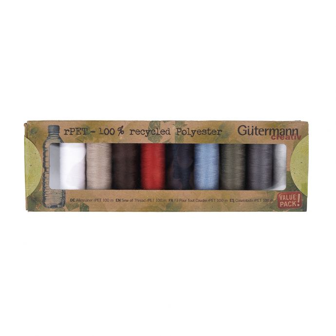 Gutermann Basic Shades 100% Recycled Polyester Thread Set - 10ct