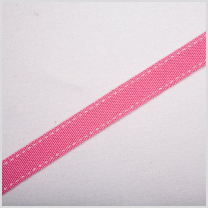 Hot Pink Stitched Grosgrain Ribbon