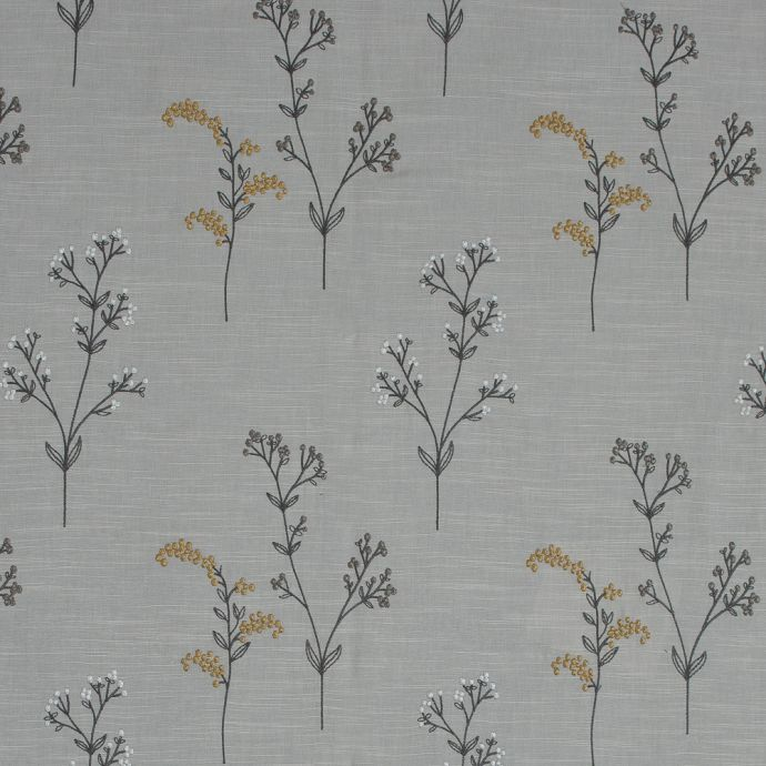 British Imported Ochre Imitation Dupioni with Embroidered Flowers