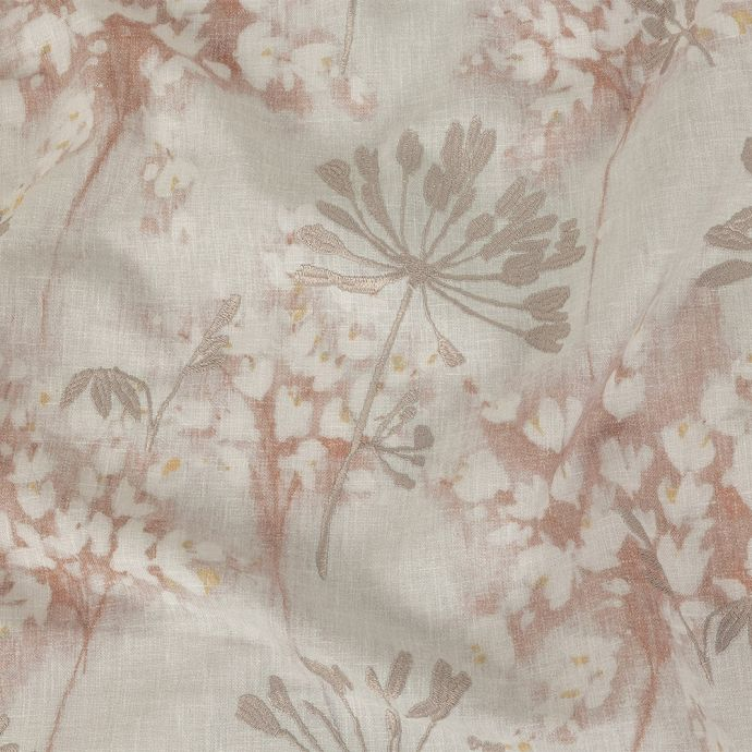 British Imported Dusky Pink Floral Printed and Embroidered Drapery Canvas