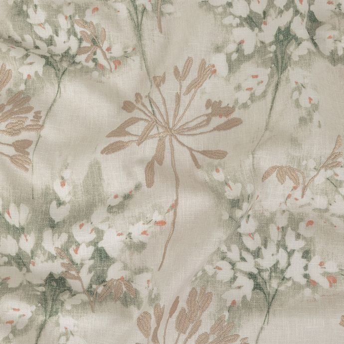 British Imported Sage Floral Printed and Embroidered Drapery Canvas