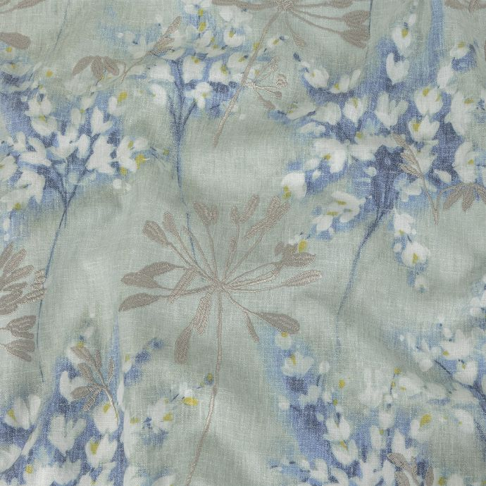 British Imported Seafoam Floral Printed and Embroidered Drapery Canvas