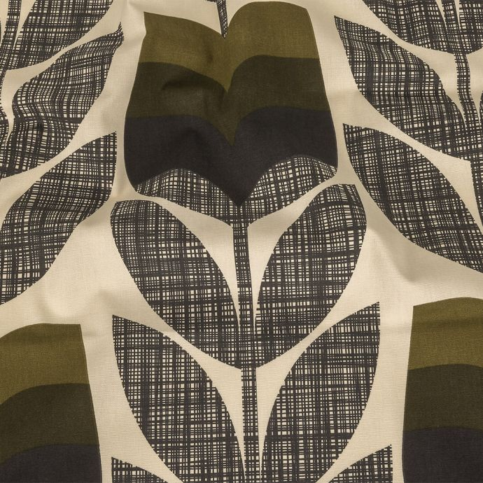 British Imported Moss Gridded Floral Printed Cotton Canvas