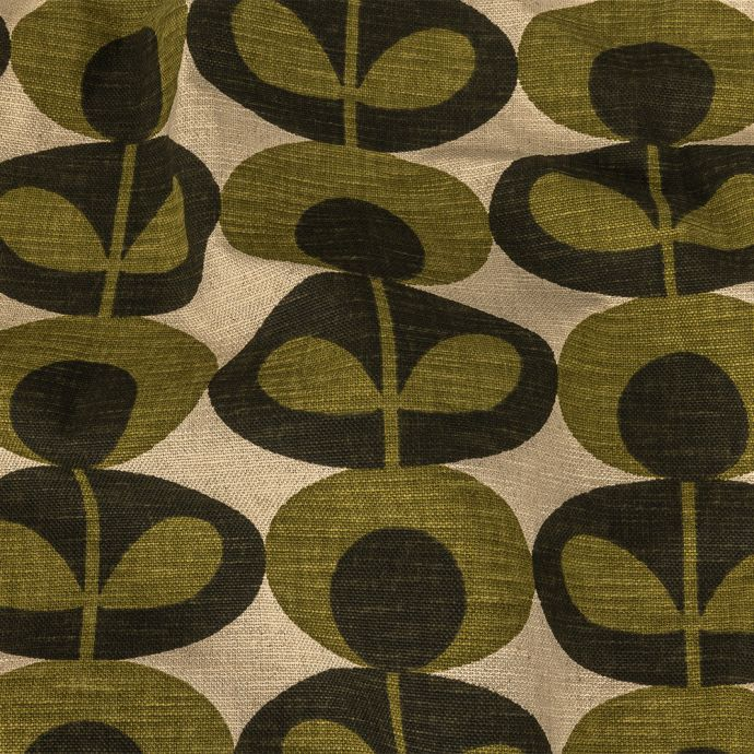 British Imported Khaki Oval Floral Printed Heavy Duty Woven
