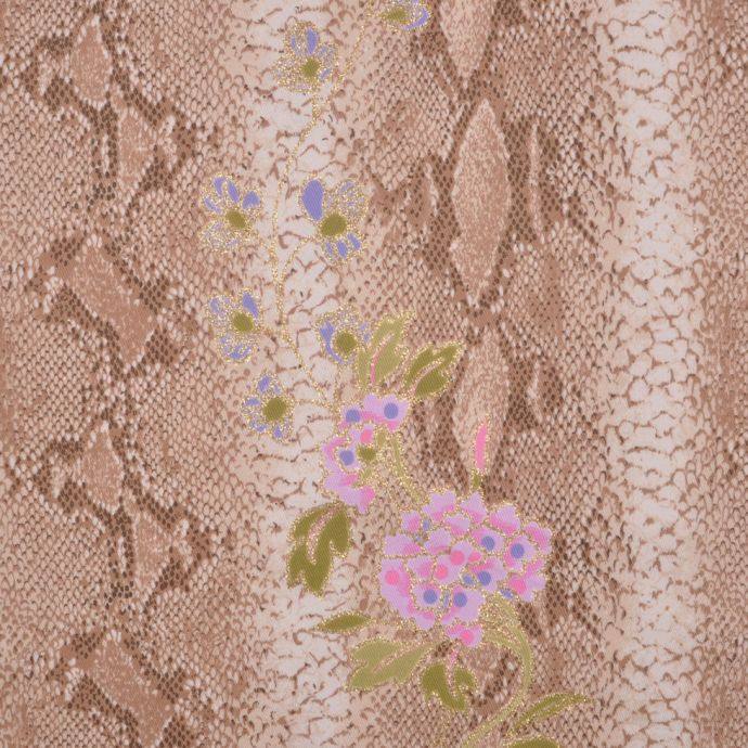 Beige/Kiwi/Orchid/Gold Reptile-Floral Cotton-Lycra Twill