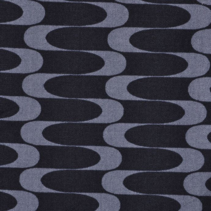 Black and Gray Wavy Lines Cotton Twill