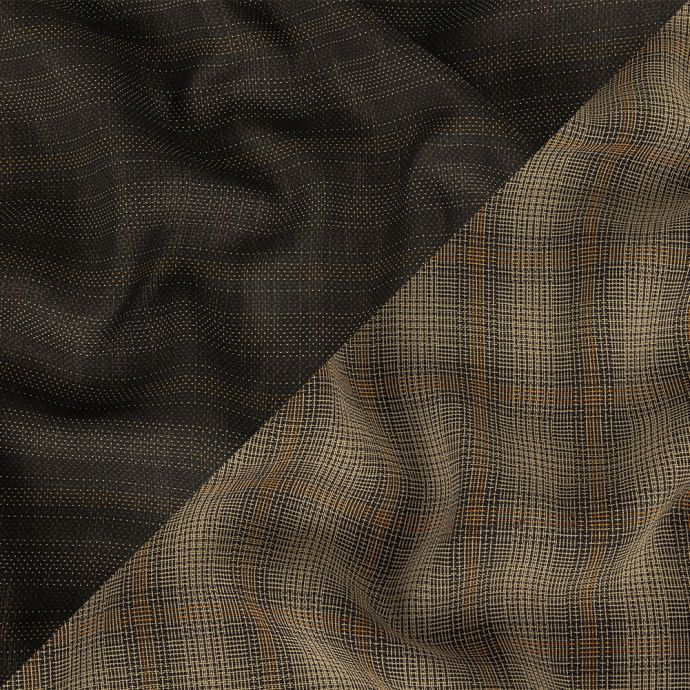 Beige, Brown, and Orange Plaid and Striped Lightweight Rayon and Cotton Double Cloth Suiting