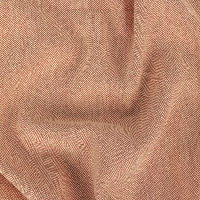 Pink and Oatmeal Herringbone Linen and Cotton Woven