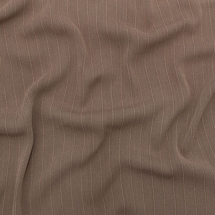 Warm Taupe Blended Crepe with Tactile Stripes