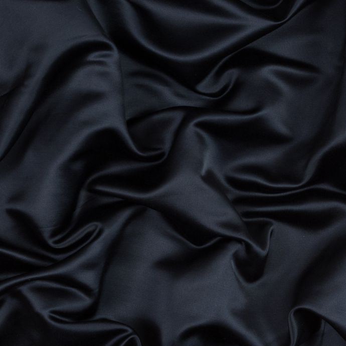 Navy Silk and Wool Twill-Backed Satin