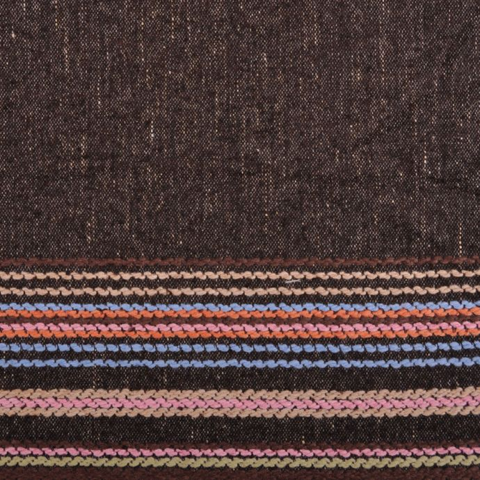 Italian Brown Wool With Colorful Striped Border