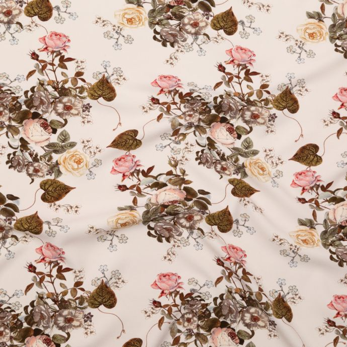 Mood Exclusive Silver Peony Blossoms of the Heart Stretch Polyester Crepe