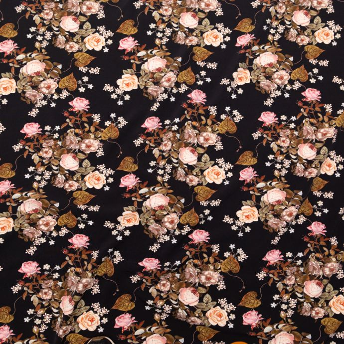Mood Exclusive Black Blossoms of the Heart Stretch Polyester Crepe