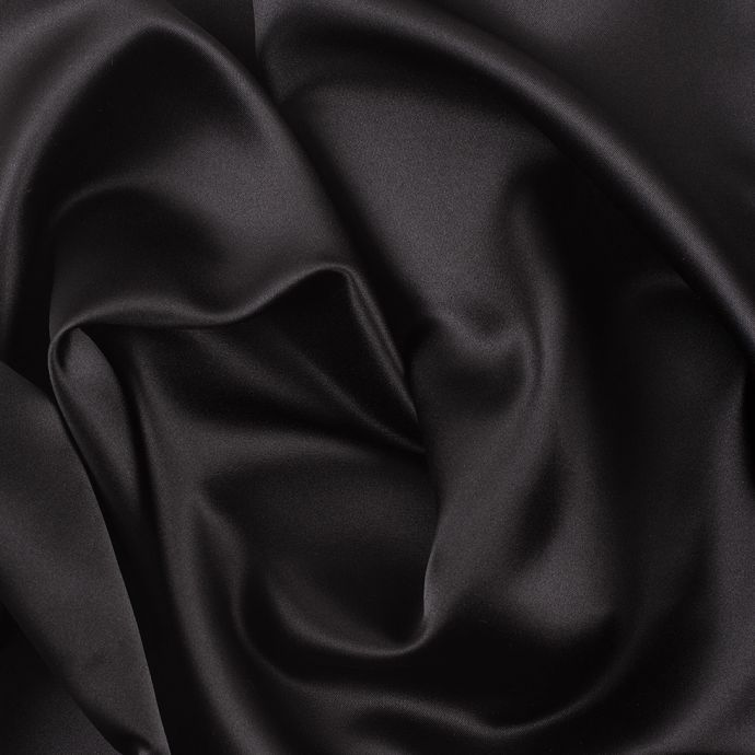 Ultra Black Solid Polyester Satin