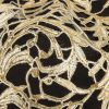 Metallic Glamour Gold Foiled Scrollwork Guipure Lace with Finished Edges - Detail