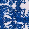 Royal Blue Floral Embroidered Mesh
