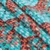 Teal and Coral Abstract Printed Cotton Woven - Folded
