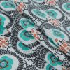 Aqua Green and Pewter Floral Printed Cotton Woven - Folded