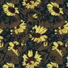 Blue, Olive and Yellow Sunflower Printed Polyester Imitation Dupioni