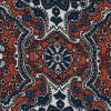 Rust and Ensign Blue Mandala Floral Polyester Print - Detail