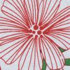 Red, Green and White Christmas-Spirited Floral Cotton Jersey - Detail