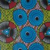Blue and Green Medallion Waxed African Print - Detail
