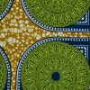 Green, Blue and Mustard Medallions Waxed Cotton African Print - Detail
