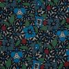 Famous NYC Designer Blue and Green Floral Crinkled Silk Chiffon - Detail