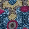 Italian Pink, Blue and Mustard African Printed Cotton Voile - Detail