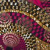 Pink and Mustard Waxed Cotton African Print decorated with Gold Metallic Foil - Detail