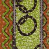 Green and Orange Striped Waxed Cotton African Print with Gold Metallic Foil - Folded