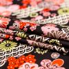 Red and Black Floral Printed Cotton Twill - Folded