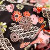 Red and Black Floral Printed Cotton Twill - Detail