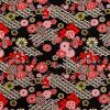 Red and Black Floral Printed Cotton Twill