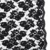 Black Narrow Beaded and Corded Lace with Scalloped Eyelash Edges