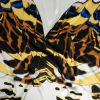 Italian White, Yellow and Royal Large-Scale Butterfly Digitally Printed Silk Charmeuse