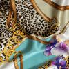Italian Chains, Straps, Flora and Leopard Spots Digitally Printed Silk Charmeuse Panel - Detail
